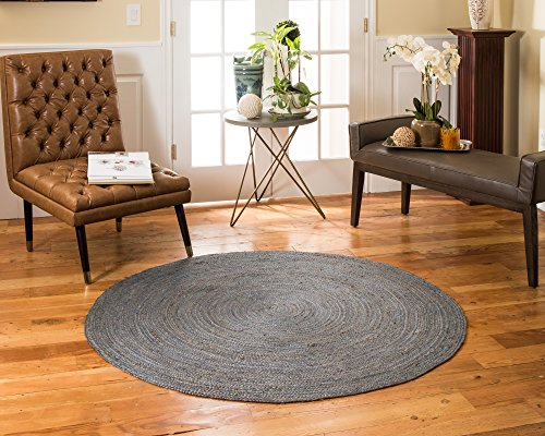 Bremen Bremen Collection (NaturalAreaRugs Bremen Collection Natural Jute Round Area Rug, Handmade, Jute, Anti-Static, Durable, Stain Resistant, Eco/Environment-Friendly, (5 Feet x 5 Feet) Blue Color)