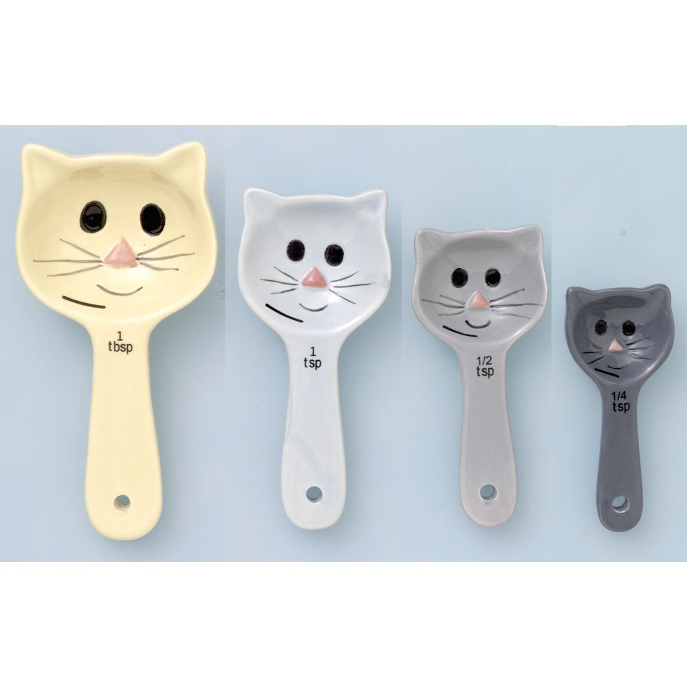 Bits and Pieces - CeramicCat Measuring Spoons - Set of Four Novelty Cooking Measurment Spoons - Home and Kitchen Functional Décor Melville Direct