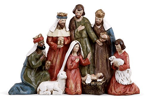 Gathered Holy Family and Three Kings 13 inch Christmas Nativity Table Top Figurine