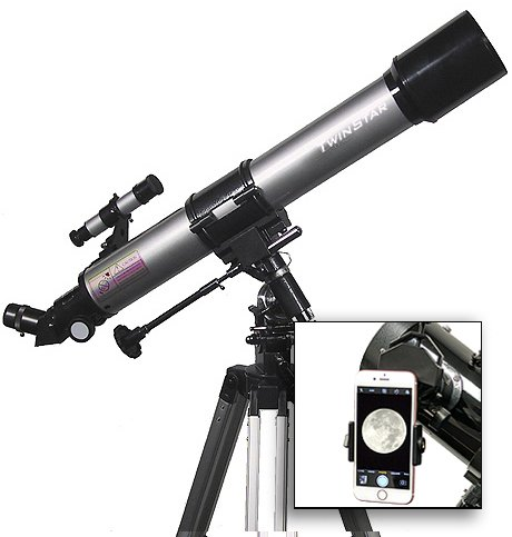 AstroVenture 70mm Refractor Telescope With Universal Smartphone Camera Adapter (Silver) by Twin Star