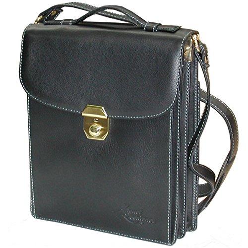 Bolso bandolera negro de hombre con carpeta en piel vacuno de alta calidad, textura fina y muy suave!