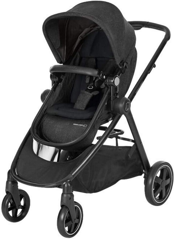Bébé Confort ZELIA 'Nomad Black' - Cochecito urbano 2 en 1, diseño compacto, sistema plegable, para bebes de 0 meses hasta 3,5 años, color negro
