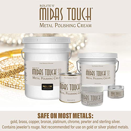Rolite Midas Touch Metal Polishing Cream - Cleaner and Polishing Rouge for Sterling Silver, Gold, Brass, Chrome, Copper, and Other Metals, Non-Toxic Formula, 2 Ounces, 6 Pack