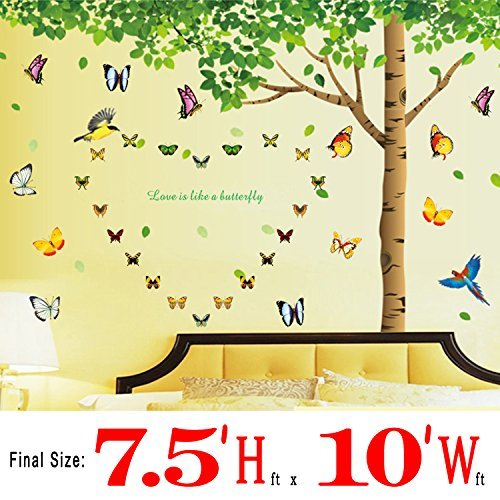 Colorful-decals© 7.4'(h) X 9.7'(w) More Attachments for Butterflies Extra Large Wall Decor Under the Fresh Green Leaves Quote Green Tree to Enjoy Easy and Relaxed Wall Stickers for Living Room Bedroom Wallpops Decal