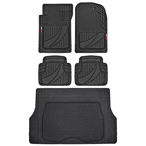 FlexTough Advanced Performance Liners - 5pc HD Rubber Floor Mats & Cargo Liner for Car SUV Auto (Black) (2006 Toyota Highlander Floor Mats All Weather)