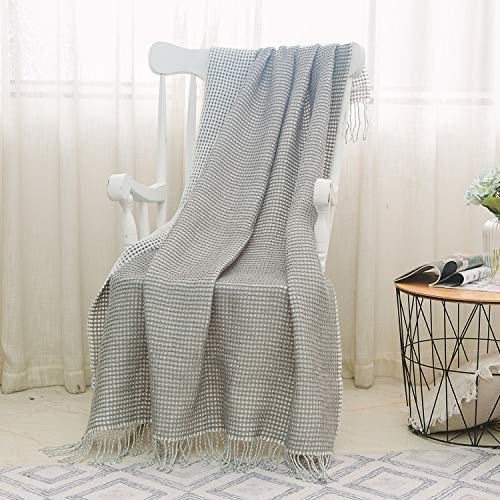 - NordECO HOME Waffle Weave Throw Blanket Fringe Throw 100% Arylic Ultra Soft Lightweight Blanket for Couch, Chair, 50