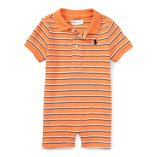 RALPH LAUREN Baby Boys Striped Cotton Polo Shortall (6 Months, Classic Peach Multi)