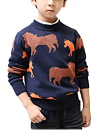 MFrannie Boys Bright Color Horse Casual Autumn Pretty Pull On Sweater