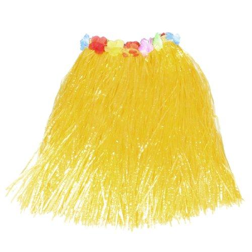 Colorful Flowers Decor Halloween Hawaiian Hula Grass Skirt Yellow for Lady (Hawaiian Beauty Costume)