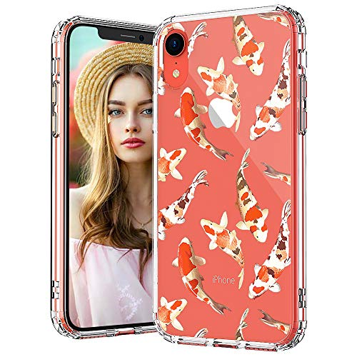 MOSNOVO iPhone XR Case, Clear iPhone XR Case, Koi Fish Pattern Clear Design Transparent Plastic Hard Back Case with Soft TPU Bumper Protective Case Cover for Apple iPhone - Case Pattern Soft Plastic