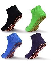 Kids Grips Ankle Socks Non Slip Trampoline Socks Anti-Skid Sticky Indoor Breathable Socks 4 Pairs for Children 2-9 Years
