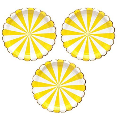 Disposable Party Paper Plates Stripe Dessert Plates 7-Inch for a Tea Party, Picnic or Birthday, Pack of 24 (7 in, Yellow)