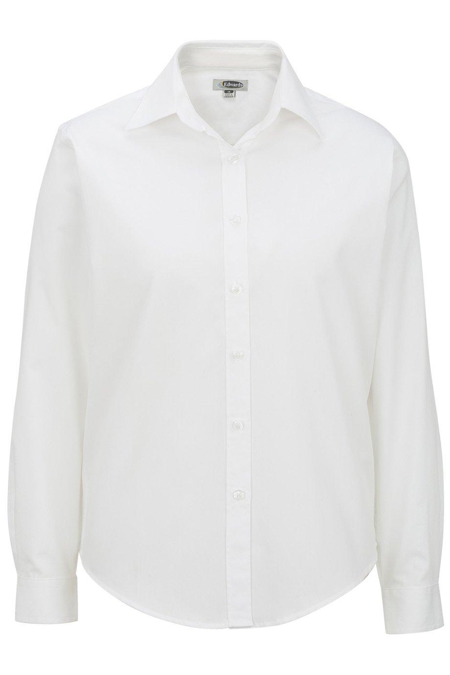 Edwards Garment Women's Pinpoint Long Sleeve Oxford Shirt, White, XX-Large