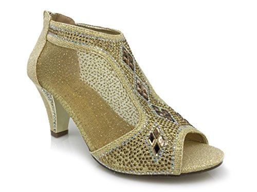 kinmi26 Womens Open Toe Mid Heel Wedding Rhinestone Gladiator Open Toe Mesh Sandal Wedge Shoes (11, Golden) - Sexy Rhinestone Shoes