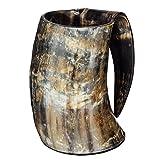 Ale Horn Hand Made 36oz - 1 LITER - Natural Finish Drinking Horn Tankard