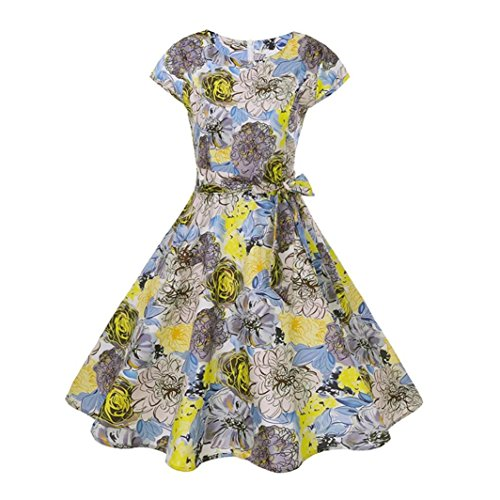 Guesspower Robe Femme Chic de Soire Vintage Cocktail Annes 1950s Style Audrey Hepburn' Classique Mode Cocktail Femmes Ruch V Cou Impression Partie Slim Cocktail Moulante Jupe S-XXL(36-44) Jaune A