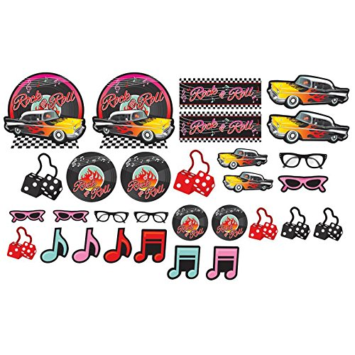 Amscan Nifty 50's Theme Party Cutout Assortment Decoration (30 Piece), Multicolor, One Size -