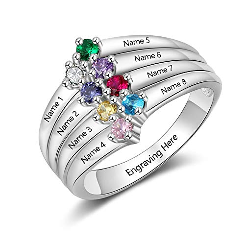 Birthstone Mom Mothers Ring - MadisonAva Anniversary Rings for Women with 8 Simulated Birthstone Customized 8 Names Grandma Mothers Rings for Family (9)