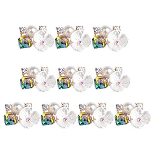 ative Metal Rhinestone Buttons Flower Shape Flatback Pearl Embellishment Flower Center DIY Hair Bow Crystal Wedding Brooch Bouquet - 1.5x1.8cm ()