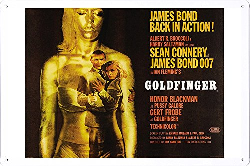Movie Poster Home Theater Decor Metal Tin Sign Wall Art by Masterpiece Collection 20*30cm - Poster Movie Goldfinger