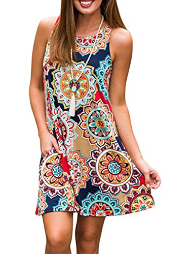 Silvous Short Dresses Plus Size Bohemian Floral Print Pockets Loose T-Shirt Dress (NavyBlue XL)