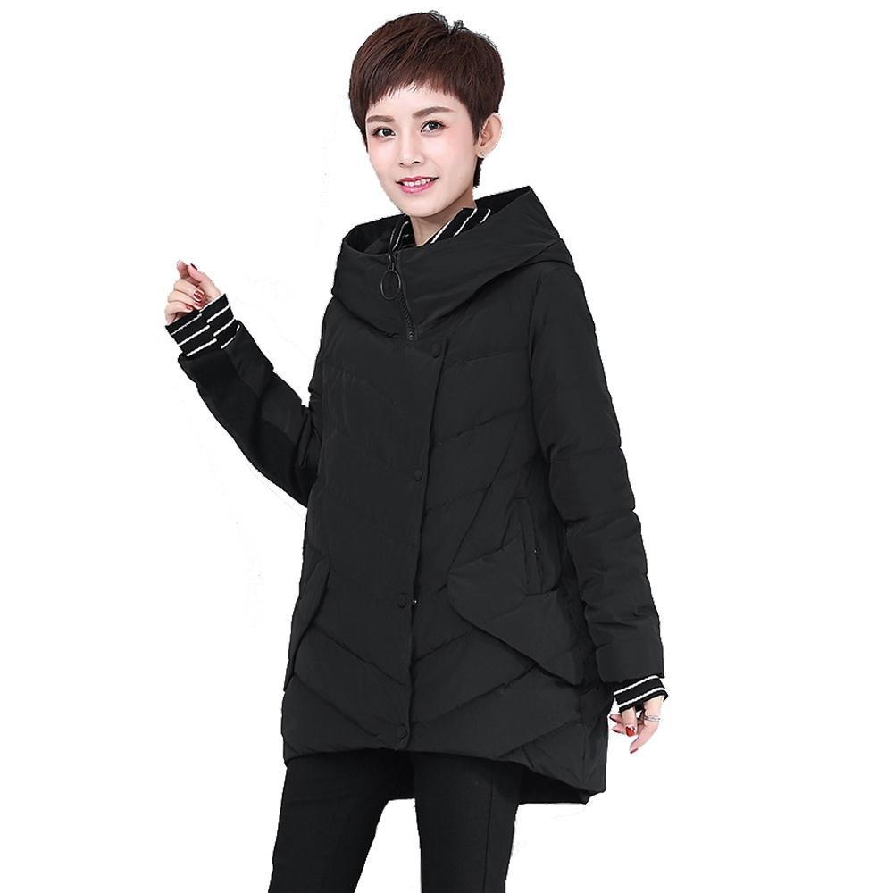 Black Women Down Jacket MidLength Stand Collar Long Sleeve Zipper Button Pocket Thicker Parkas Warm Windproof Coats