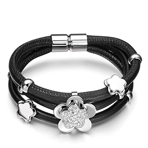 - Hardart Womens Triple Layer Full Stone Flowers Cowskin Leather Bracelet (Silver)