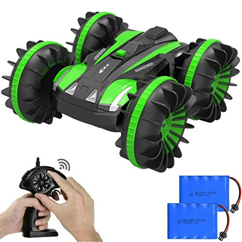 Auimi Remote Control Car Boat Truck - 2.4Ghz 4WD Waterproof Electric RC Cars - 1/16 Scale Double Sided Amphibious Vehicle with 360 Degree Spins and Flips - Green (Best Electric Rc Cars)