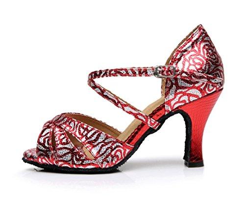 Tda Womens Cinturino Alla Caviglia Comfort Fiore Snakeskin Sintetico Salsa Tango Da Ballo Scarpe Da Ballo Latino Ballo Rosso