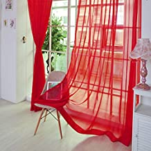 uxcell® Sheer Voile Curtains, Net curtains, Slot Top Plain Voile Curtain Panel Net & Organdy Red - One Panel