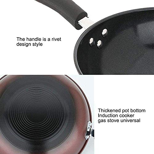 Poêle à Frire antiadhésive Wok 32cm en Acier Inoxydable Convient à Toutes Les plaques de Cuisson, y Compris à Induction, poignées en Silicone, poêles à Sauter