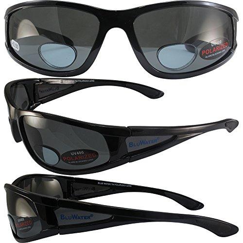 BlueWater Polarized Bifocal 3 Sunglasses Gloss Black Frames +2.5 Magnification Smoke Lenses by Global - Wholesaler Sunglasses