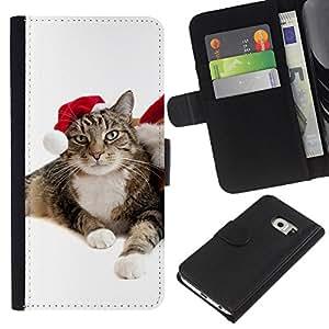 Samsung Galaxy S6 EDGE SM-G925 , la tarjeta de Crédito Slots PU Funda de cuero Monedero caso cubierta de piel ( Cat Christmas Elf Mongrel Blue Eyes Photo)