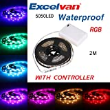 Image of Excelvan 2M/6.6FT IP65 Waterproof Flexible Color Changing RGB SMD 5050 60 LEDs DC 5V Battery-powered LED Strip Light with Mini Controller