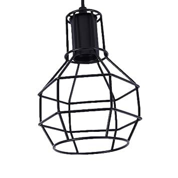 Retro Metal lámpara de techo pantallas de lámpara colgante jaula de hierro de techo Shade, metal, negro, D Style: Amazon.es: Hogar