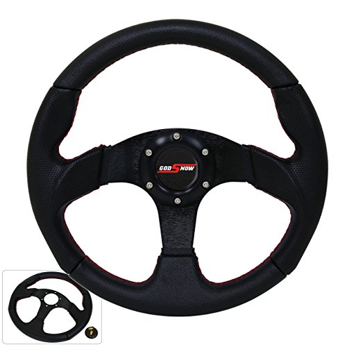 Universal 6 Bolt Steering Wheel Black Aluminum Center + Godsnow Horn Button Universal