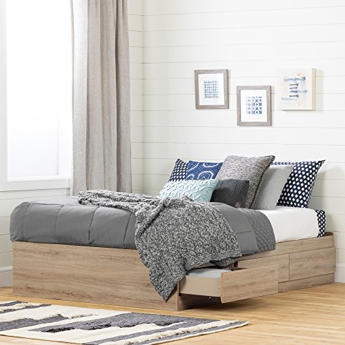 (South Shore 11876 Fakto Mates Bed with Storage Drawers Full Rustic Oak)