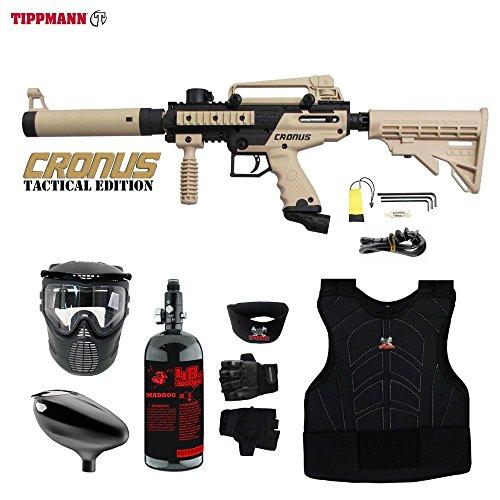 MAddog Tippmann Cronus Tactical Beginner Protective HPA Paintball Gun Package - Black/Tan ()