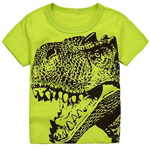 Csbks Boys Short Sleeve Crew Neck Tee Kids Cartoon Print T-Shirt 1-6 Toddler 4T Dinosaur Fluorescent Green (Toddler Tee School)