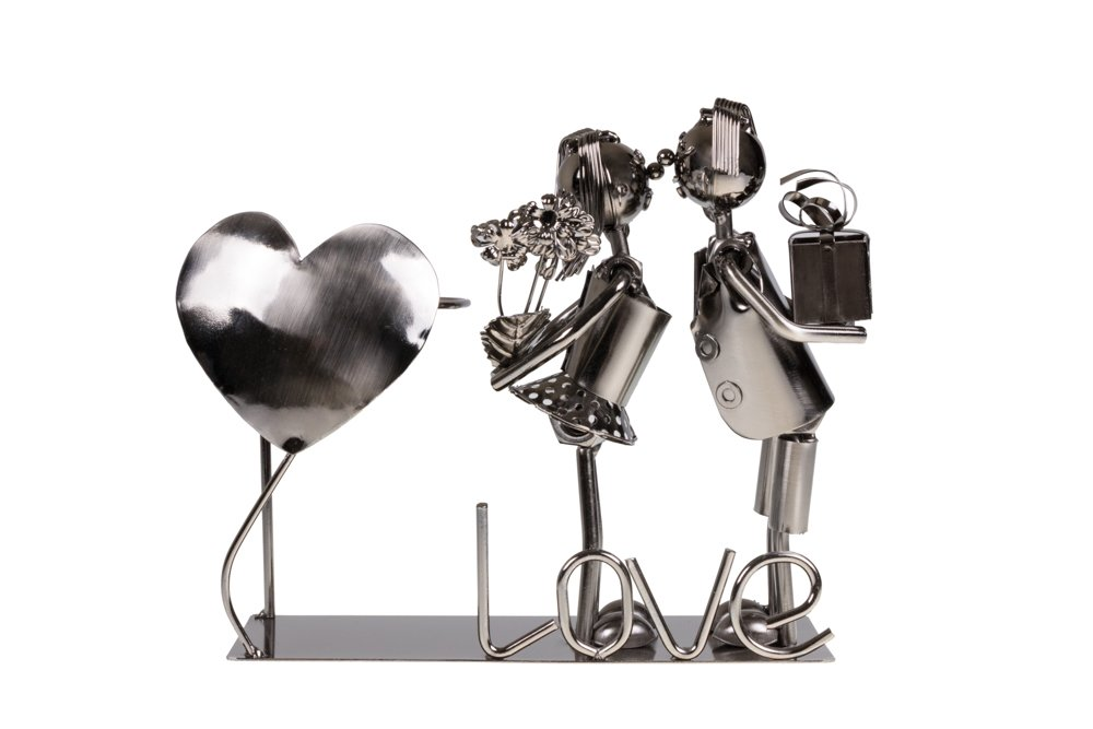 Cute Couple Kissing Wine Bottle Holder by Clever Creations | Premium Metal Design Easily Fits Any Standard Wine Bottle | Wide Stable Base | Stainless Steel