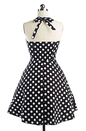 Hepburn la de Lunares Retro Rockabilly del Tutú Negro DATO Grande Falda Vestido Delgado 50s qgvPcFt