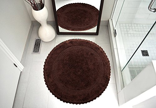 Saffron Fabs Bath Rug 100% Soft Cotton 36 Inch Round, Reversible-Different Pattern On Both Sides, Solid Chocolate Color, Hand Knitted Crochet Lace Border, Hand Tufted, 200 GSF Weight, Machine Washable (Round Crochet Rug)