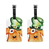 Top Carpenter 2 Packs Dog Hat St Patrick's Day Luggage Hand-bag Claim Baggage ID Tag Travel Identifier Suit-case Label - Leather by
