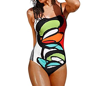 Clearance! Plus Size Swimwear! ❤️ Women Bikini, Neartime Summer Print Sling Swimsuit One Piece Push-Up Sexy Bathing Beachwear (❤️AsianM, Multicolor)