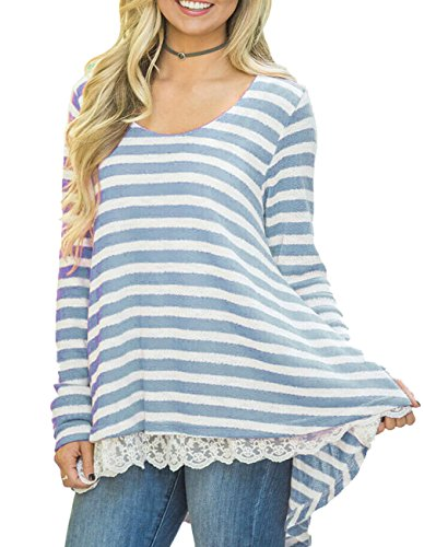 Blue Striped Sweater (Women Lace Long Sleeve Tunic Top Blouse Casual Striped T Shirt (X-Large, Blue))