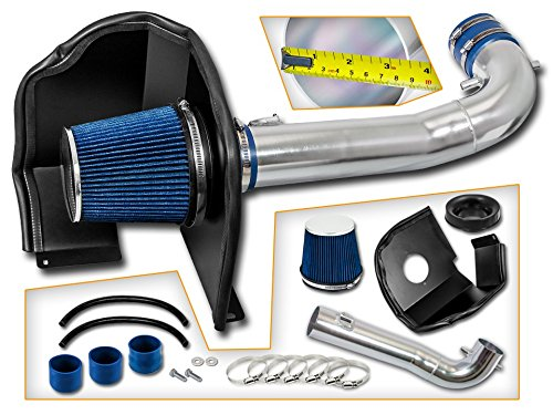 Cold Air Intake System with Heat Shield Kit + Filter Combo BLUE Compatible For 15-17 Cadillac Escalade V8 (Best Cold Air Intake For 2019 Chevy Silverado 1500)