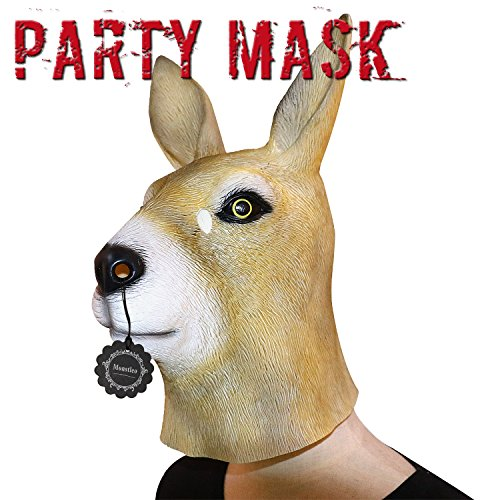 Monstleo Latex Rubber Kangaroo Animal Head Mask Halloween Party Costume Decorations (Funny Cute Women Halloween Costumes)