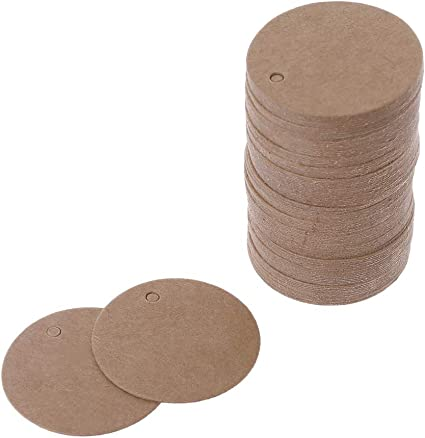 100 Blank Brown Kraft Paper Hang Tags Wedding Party Favor Label Price Gift Cards
