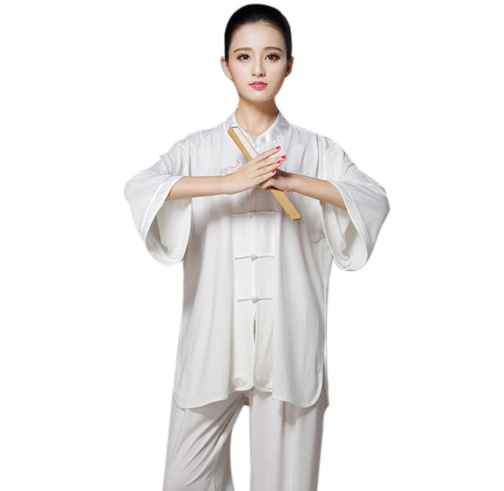 ZooBoo Women's Chinese Traditional Tai Chi Uniform Short Sleeves Morning Exercises Kung Fu Clothing (M, White) by ZooBoo