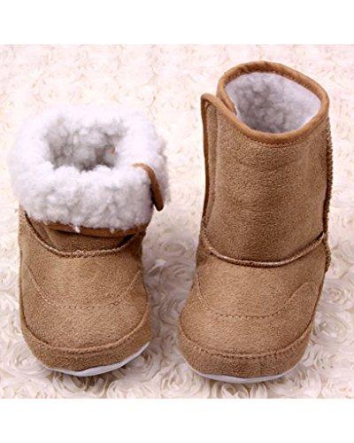 Minetom Niñas Bebés Invierno Calor Botas de Nieve Suela Blanda Botas Pisos Zapatos del Niño marrón